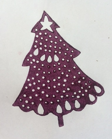 indian wooden printing block lacy christmas tree arty crafty