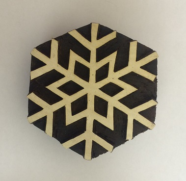 hand carved Indian wooden printing block large snowflake
