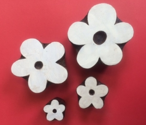 Hand carved Indian wooden printing blocks- funky flowers set