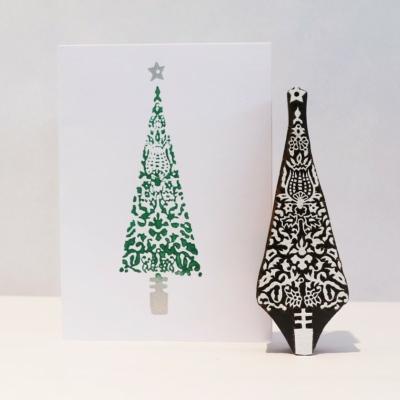 Indian Wooden Printing Block - Tall Detailed Xmas Tree