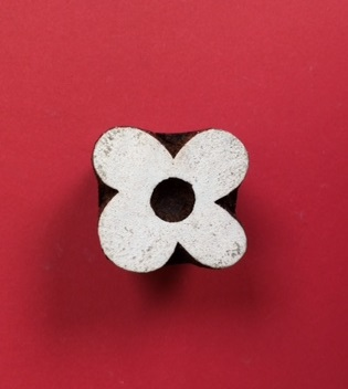 hand carved Indian wooden printing block- 4 petal abstract flower