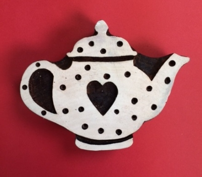 hand carved Indian wooden printing block- large dotty heart teapot