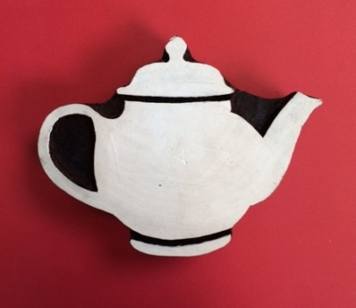 Hand carved Indian wooden printing block, Large teapot design