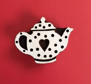hand carved Indian wooden printing block- Small teapot design