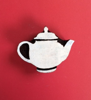 hand carved Indian wooden printing block- small solid teapot