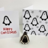 Block Printed Penguin Christmas Cards