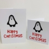 Block Printed Happy Christmas & Penguin Cards