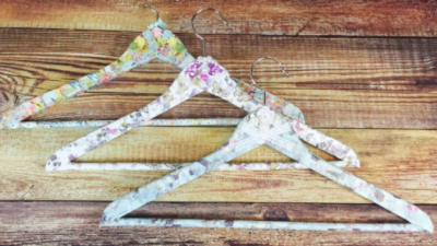 decoupaged coat hangers