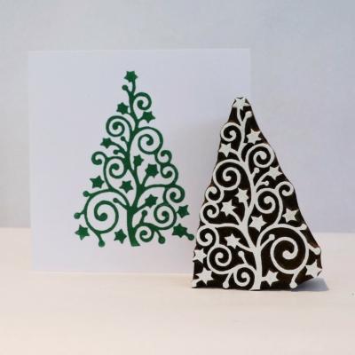 Curls and Stars Christmas Tree Printing Block