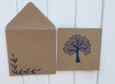 Hand Block Printed Card and Envelope