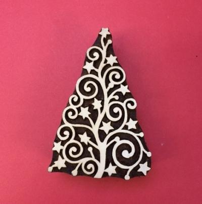 Block craft Indian wooden printing block- Christmas Tree