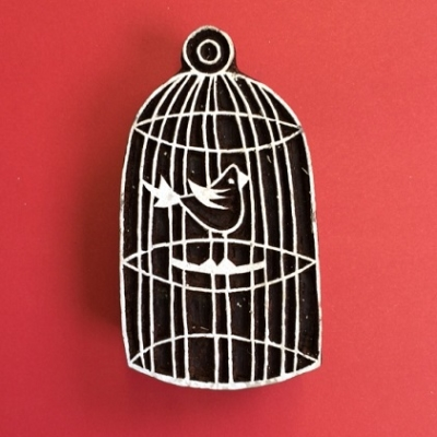 Block craft Indian wooden printing block- Beautiful Birdcage