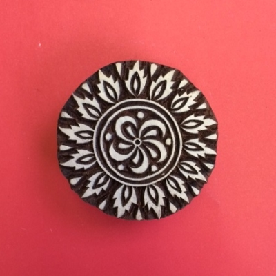 Block craft Indian wooden printing block- circle design 9