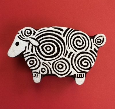 Block craft Indian wooden printing block- Curly sheep
