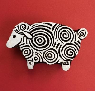 Block craft Indian wooden printing block- Curly sheep