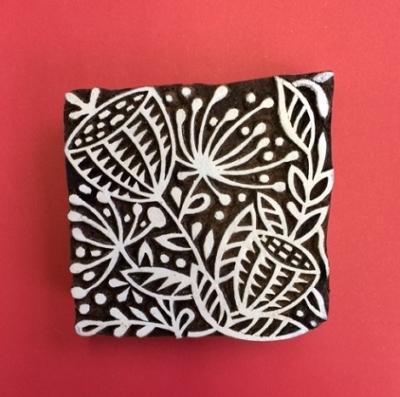 Block craft Indian wooden printing block- large seed head pattern