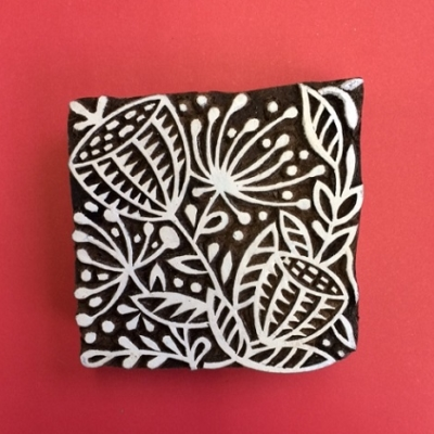 Block craft Indian wooden printing block- large seed head pattern