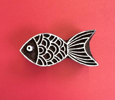 Block craft Indian wooden printing block- Goldfish