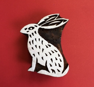 Block craft Indian wooden printing block- sitting hare
