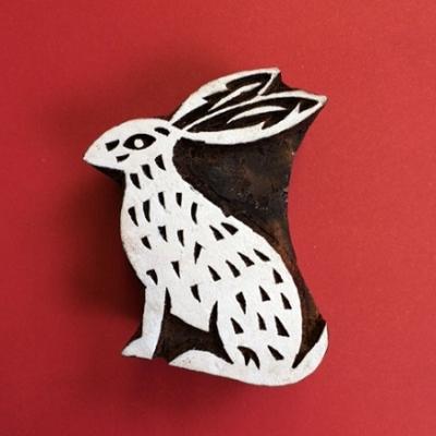 Block craft Indian wooden printing block- sitting hare