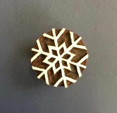 Block craft Indian wooden printing block- small simple snowflake
