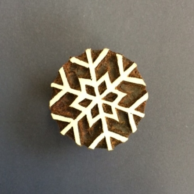Block craft Indian wooden printing block- small simple snowflake