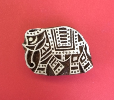 Block craft Indian wooden printing block- small walking elephant