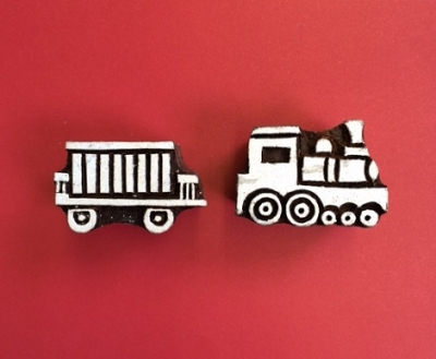 Block craft Indian wooden printing block- train and carriage