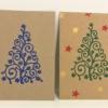 Block Printed Curls & Stars Christmas Tree Cards