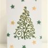 Block Printed Curls & Stars Christmas Tree Card