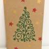 Block Printed Curls & Stars Christmas Tree Card With Stars
