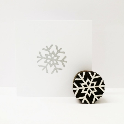 Indian Wooden Printing Block - Small Simple Snowflake