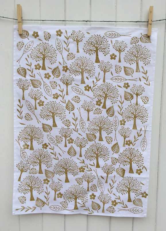 Hand Printed Tea Towel Using Trees & Leaves Printing Set