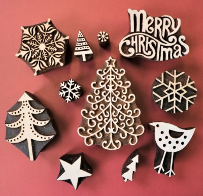 Twirly Christmas Tree Block Printing Set