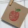 Block Printed Apple Card