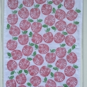 Hand Printed Flowery Apple Tea Towel
