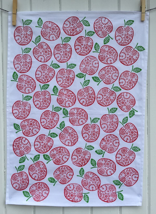 Hand Printed Flowery Apple Tea Towel