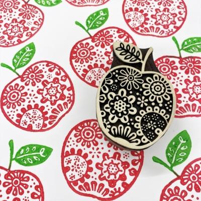 Indian Wooden Printing Block- Flowery Apple