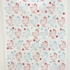 Chicken Printed White Cotton Tea Towel in Red and Duck Egg