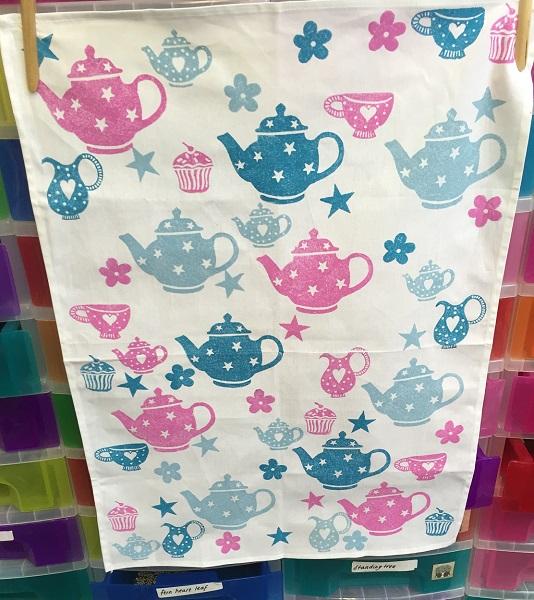 Block Printed Tea Towel using Afternoon Tea Printing Set