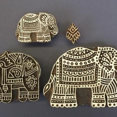 Indian wooden block printing set- detailed Indian elephants