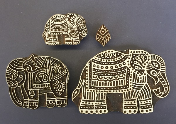 c6dd42e74acd Indian wooden block printing set- detailed Indian elephants