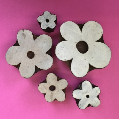 Indian wooden block printing set- Funky Flowers