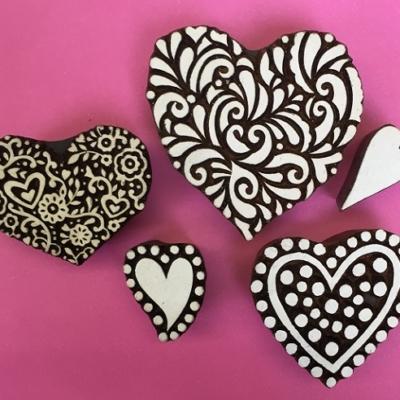Indian wooden block printing set- hearts