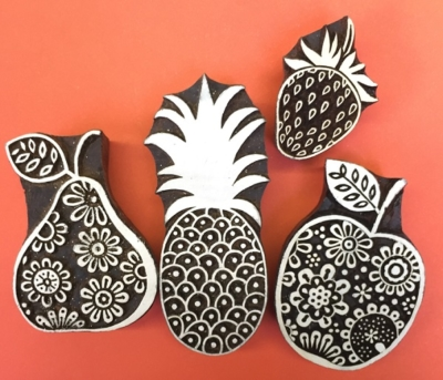 Indian wooden block printing set- funky fruits