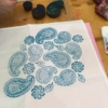Printed fabric using Paisleys wooden block printing set