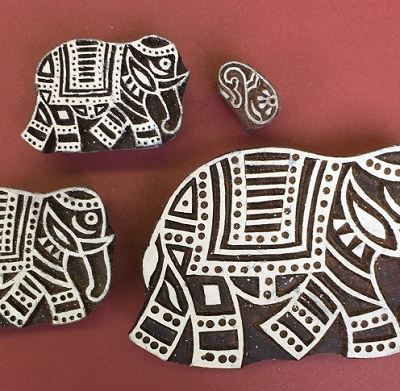 Indian wooden printing blocks set - walking elephants