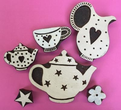 Indian wooden block printing set- afternoon tea designs