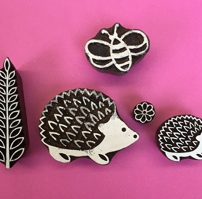 Indian wooden block printing set- Hedge hogs