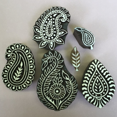 Indian wooden block printing set- paisleys